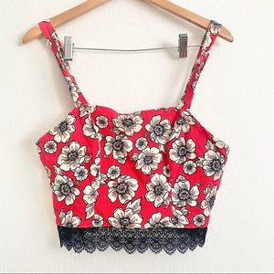 Forever 21 Red Floral Lace Zippered Crop Top